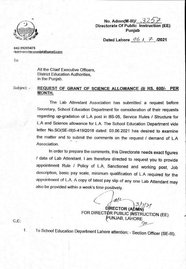 GRANT OF UP-GRADATION AND SCIENCE ALLOWANCE TO LAB ATTENDANT (LA)