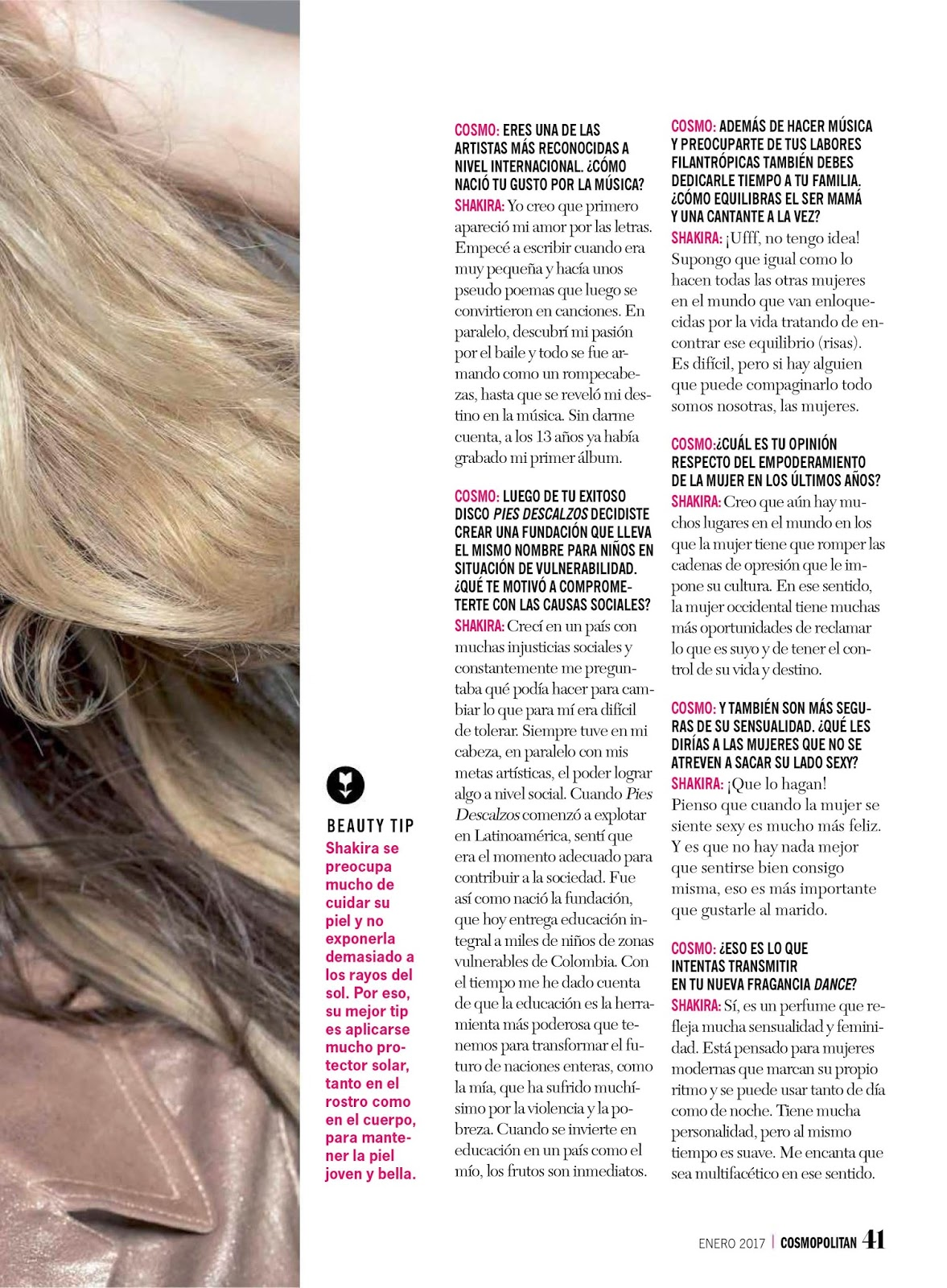 Shakira en la portada de la revista Cosmopolitan de Chile (Enero 2017)