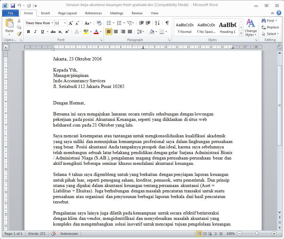 Contoh Surat Lamaran Kerja Bagian Akuntansi Keuangan