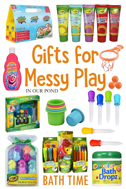 Gifts for Messy Play // In Our Pond // sensory play // mud kitchen // bath time fun // kids gift guide