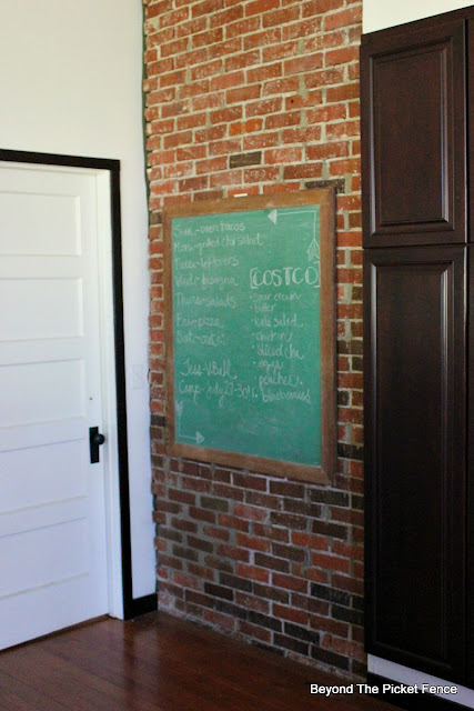 Old Chalkboard, brick, schoolhouse, vintage, http://bec4-beyondthepicketfence.blogspot.com/2015/07/old-chalkboard-exposed-brick-oh-my.html