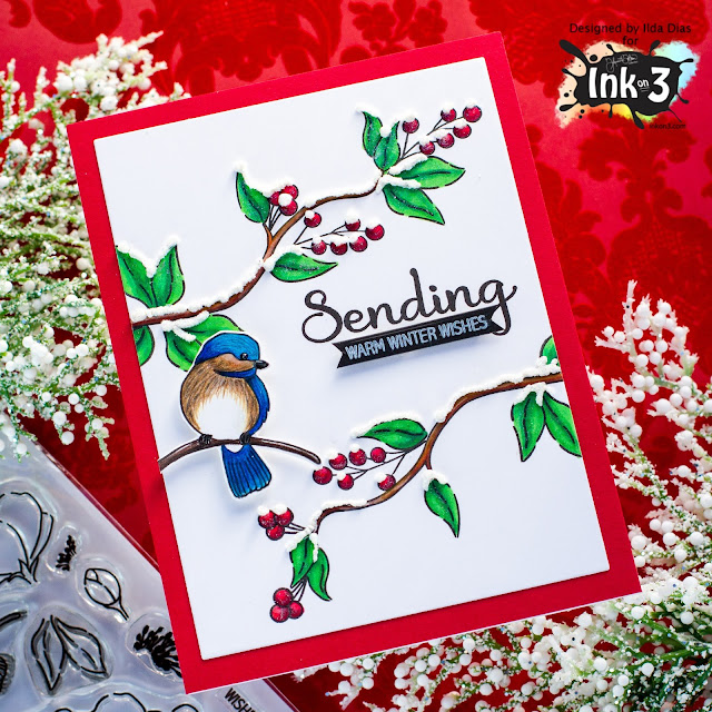 Warm Winter Wishes, Holiday Card,Ink On 3,Little Birdie Stamp Set, Christmas Card, Blackout ink, Card Making, Stamping, Die Cutting, handmade card, ilovedoingallthingscrafty, Stamps, how to,