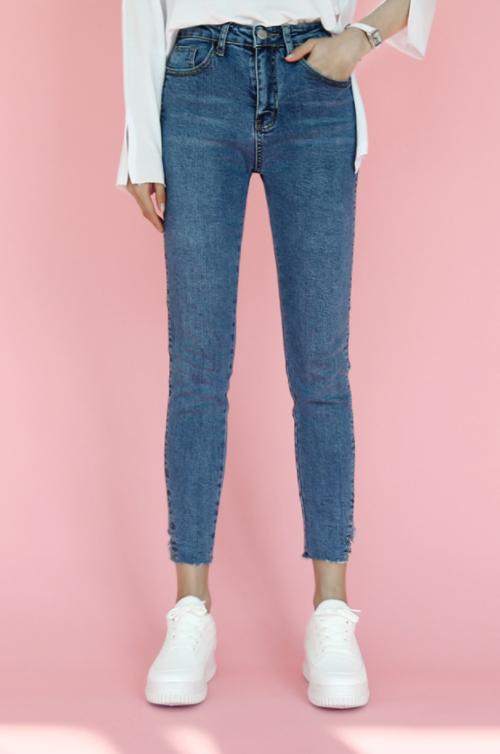 Cutout Hem Skinny Jeans