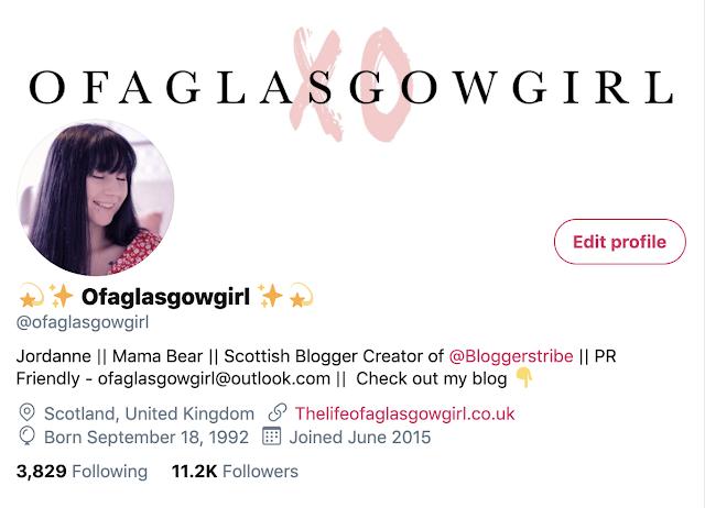 A Screenshot of Ofaglasgowgirl twitter bio