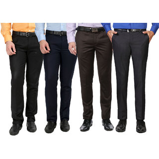 GWALIOR PACK OF 4 FORMAL TROUSERS (BLACK, BLUE, BROWN GREY) Easy Buy