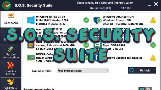 S.O.S. Security Suite - Δωρεάν εύχρηστη σουίτα για απομάκρυνση ιών, spyware και adware από υπολογιστές