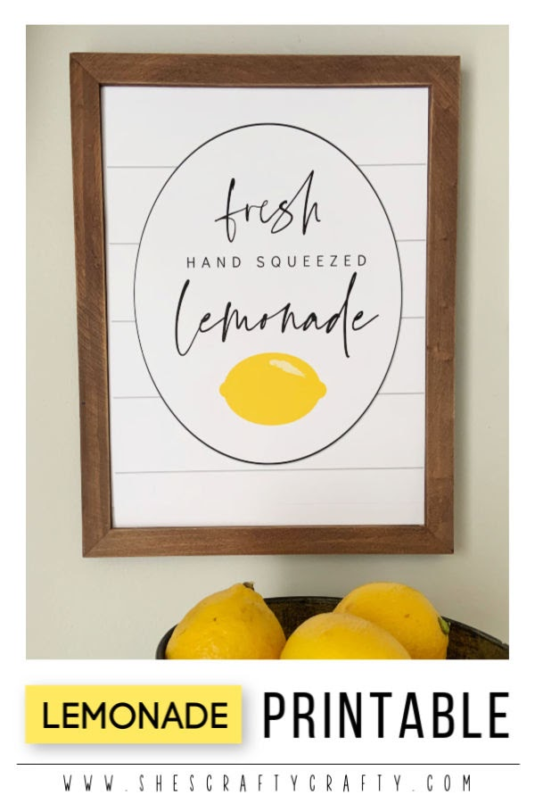 Lemonade Printable |  Summer home decor |  She's Crafty