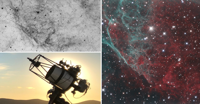 """Inverted image of the Vela Nebula supernova remnant imaged in Ha (upper left), and in Ha, OIII, and RGB (right), and ATEO-3, the 12.5"""" f/9 Ritchey-Chretien located at Deep Sky Chile."""