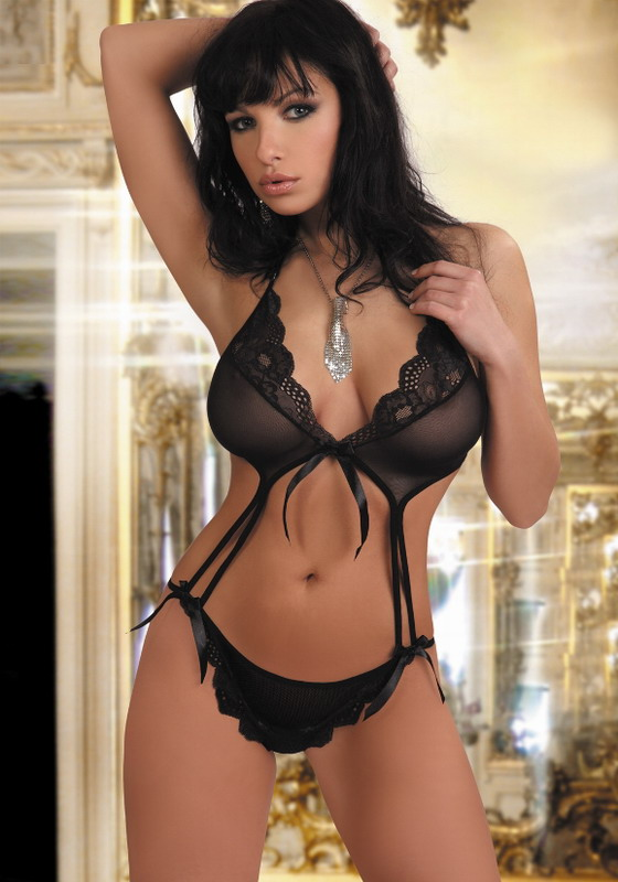 FASHION CARE 2U: L757 Black Sheer Teddy Lace Trim Lingerie