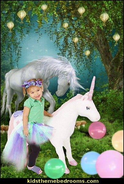 White Unicorn Backdrop Dreamy Fairytale Forest Old Tree Shining Lights Fantasy Landscape Mushroom Grass Field Vinyl Photography Background Baby Kids Happy Birthday Photo Studio Props