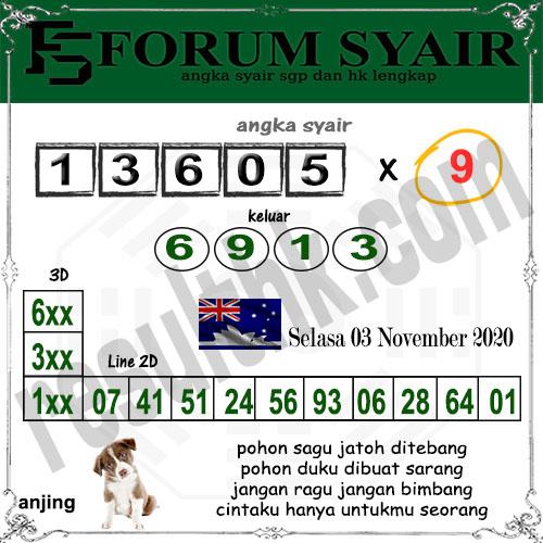 Forum Syair Sidney Selasa 03 November 2020
