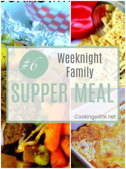 Weeknight Family Supper Meal, an inspiration for a meal any night of the week that may include ideas how to make part of the meal ahead, how to freeze any leftovers or how to make leftovers into a makeover for another meal.