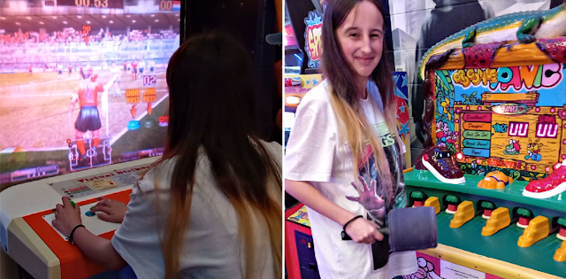 My eldest playing arcade games