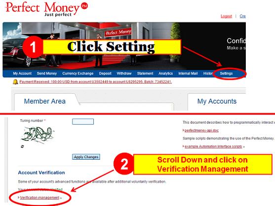 Perfect money account verification