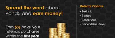 4. Spread Pond5 - Earn 5% of all purchases your referred user make
