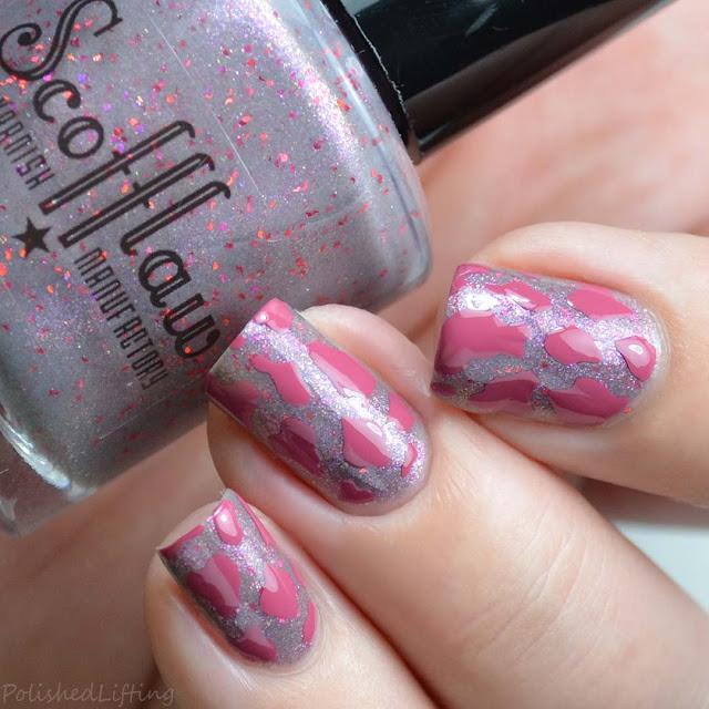pink cow spot nail art