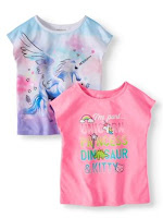 Garanimals Toddler Girls' Graphic Dolman Sleeve T-Shirts, 2-Piece Multi-Pack