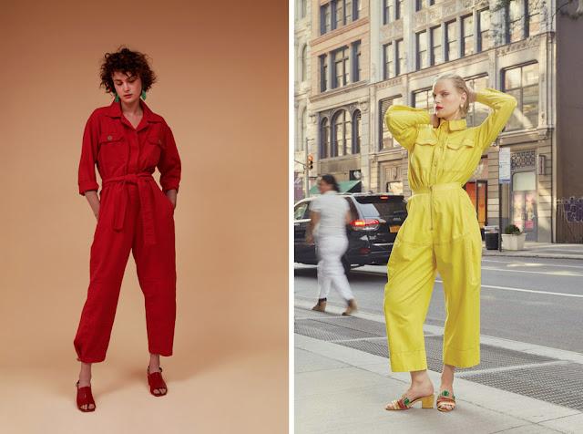 Красный и желтый рабочий комбинезон в утилитарном стиле