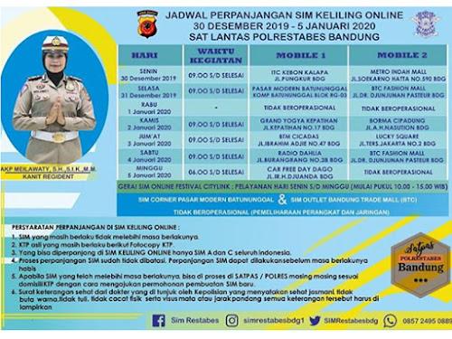 Jadwal SIM Keliling Polrestabes Bandung bulan Januari 2020