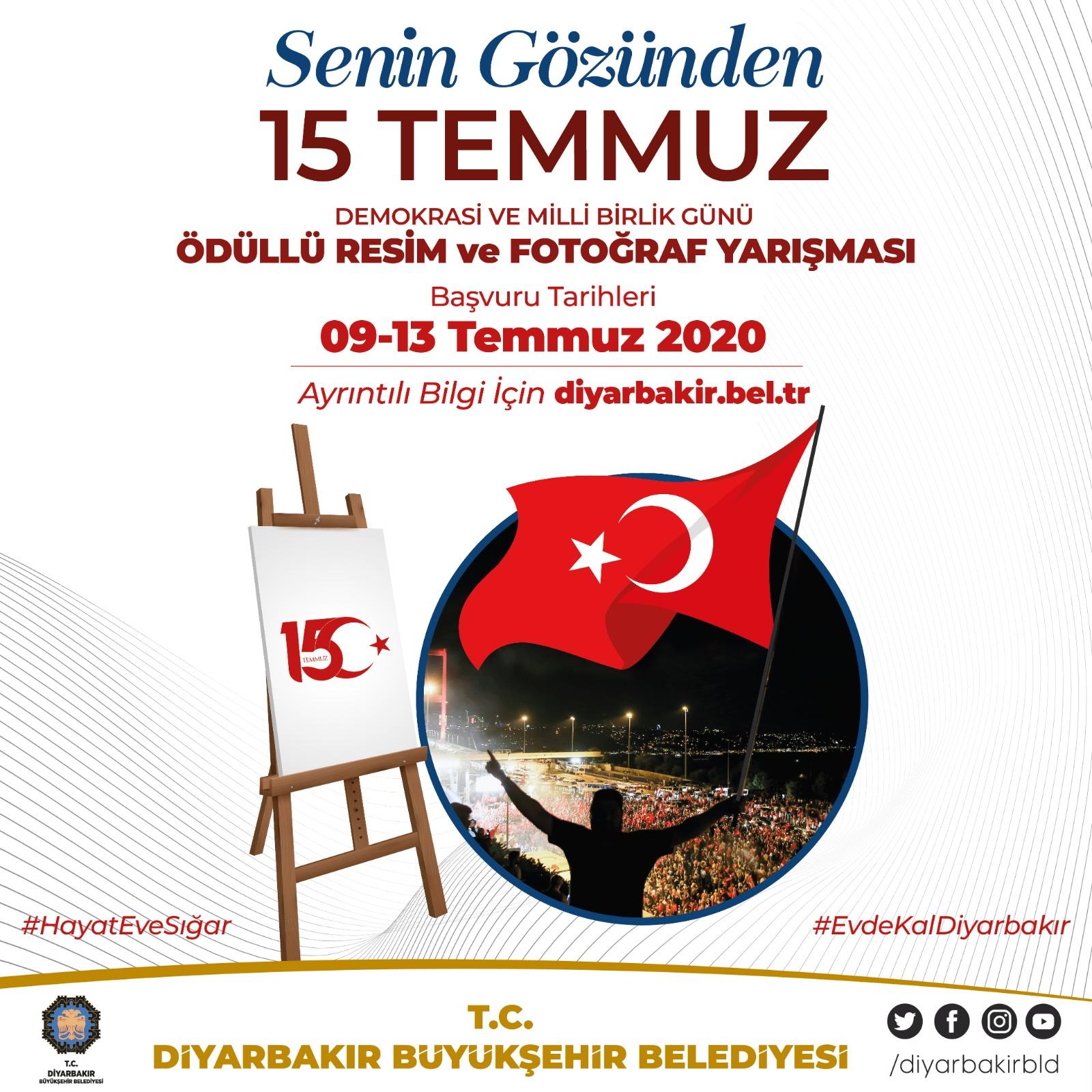 Diyarbakır Büyükşehir Belediyesinden 15 Temmuz temalı ödüllü yarışmalar