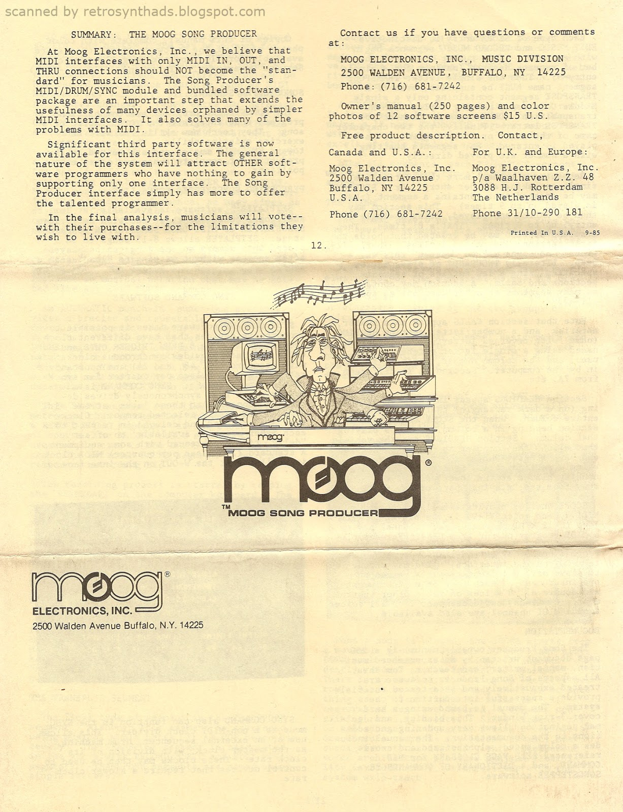 Retro Synth Ads: Moog Song Producer 12-page introductory guide, 1985