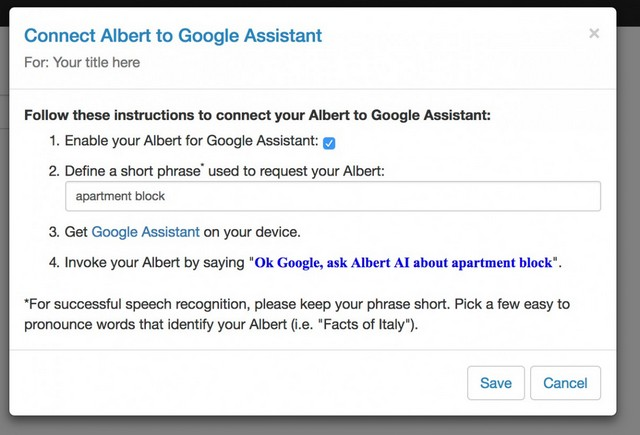 installing ai with google assistant dialog box