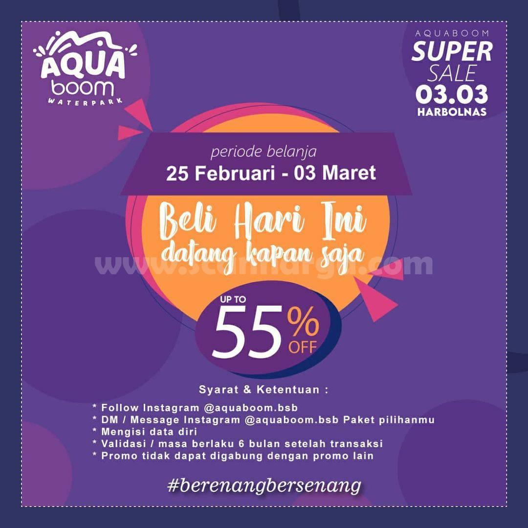 AQUABOOM Promo SUPER SALE 03.03 HARBOLNAS – Spesial Diskon hingga 55%