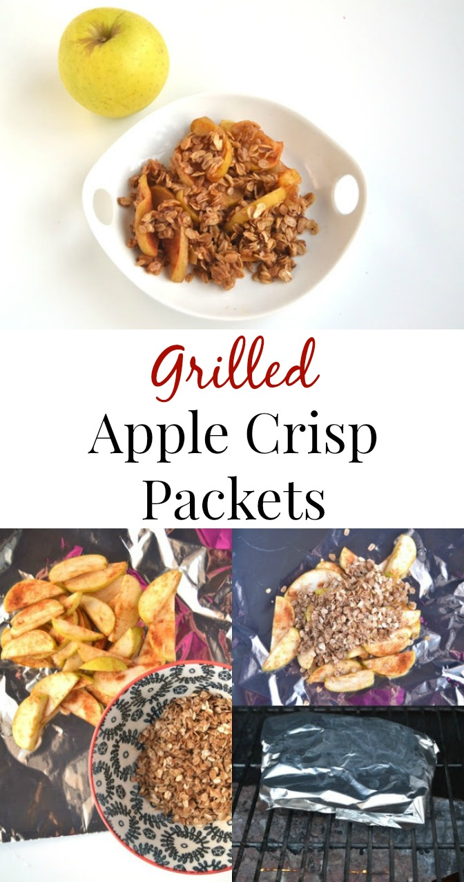 These Grilled Apple Crisp Packets are full of flavor, take about 10 minutes to make and are a healthier but still delicious dessert! www.nutritionistreviews.com