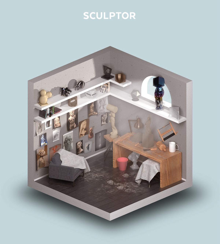 05-Room-of-a-Sculptor-Petr-Kollarcik-Digital-Interiors-Design-and-Modern-Nomads-illustrations-www-designstack-co