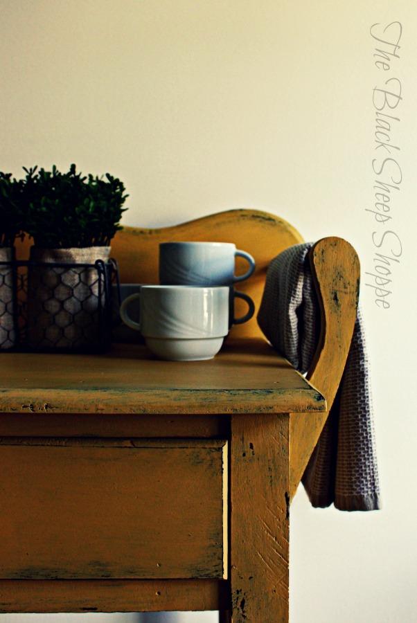 Repurposed vintage washstand.