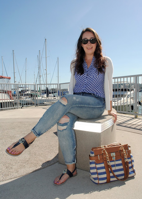 style, Samantha Chic, New York and Co., rope, cardigan, Pistola, distressed, denim, ankle jeans, jeans, skinny jeans, Charming Charlie, anchor, sandals, nautical fashion, nautical accessories, nautical, striped bag, Michael Kors, ray-ban