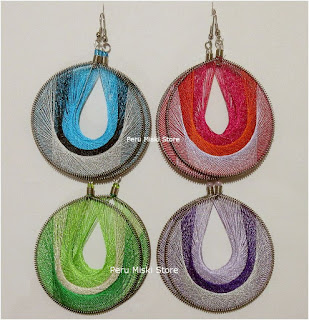 Large round thread earrings