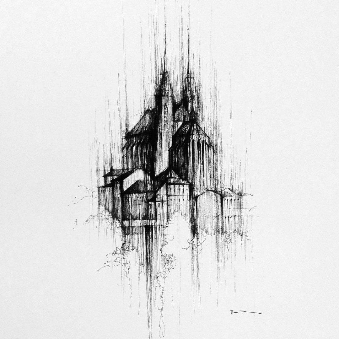 06-Cathedral-Brno-Czech-Republic-Pavel-Filgas-Urban-Drawings-Architecture-on-our-Streets-www-designstack-co