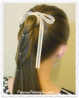 Ponytail cascade, cute hairstyle for school.