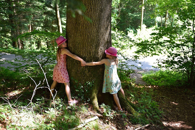 dziewczynki przytulające drzewo
