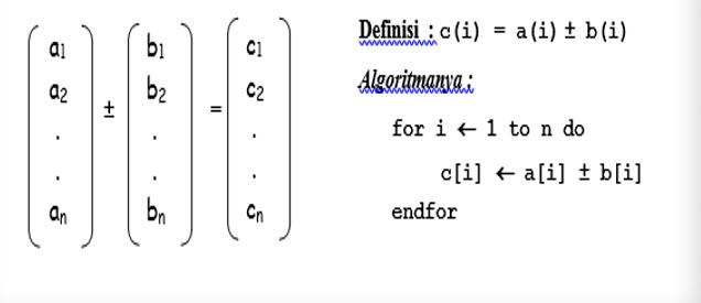 algoritma vektor penjumllahan dan pengurangan