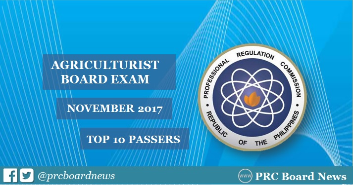 PRC RESULT: November 2017 Agriculturist board exam top 10 passers