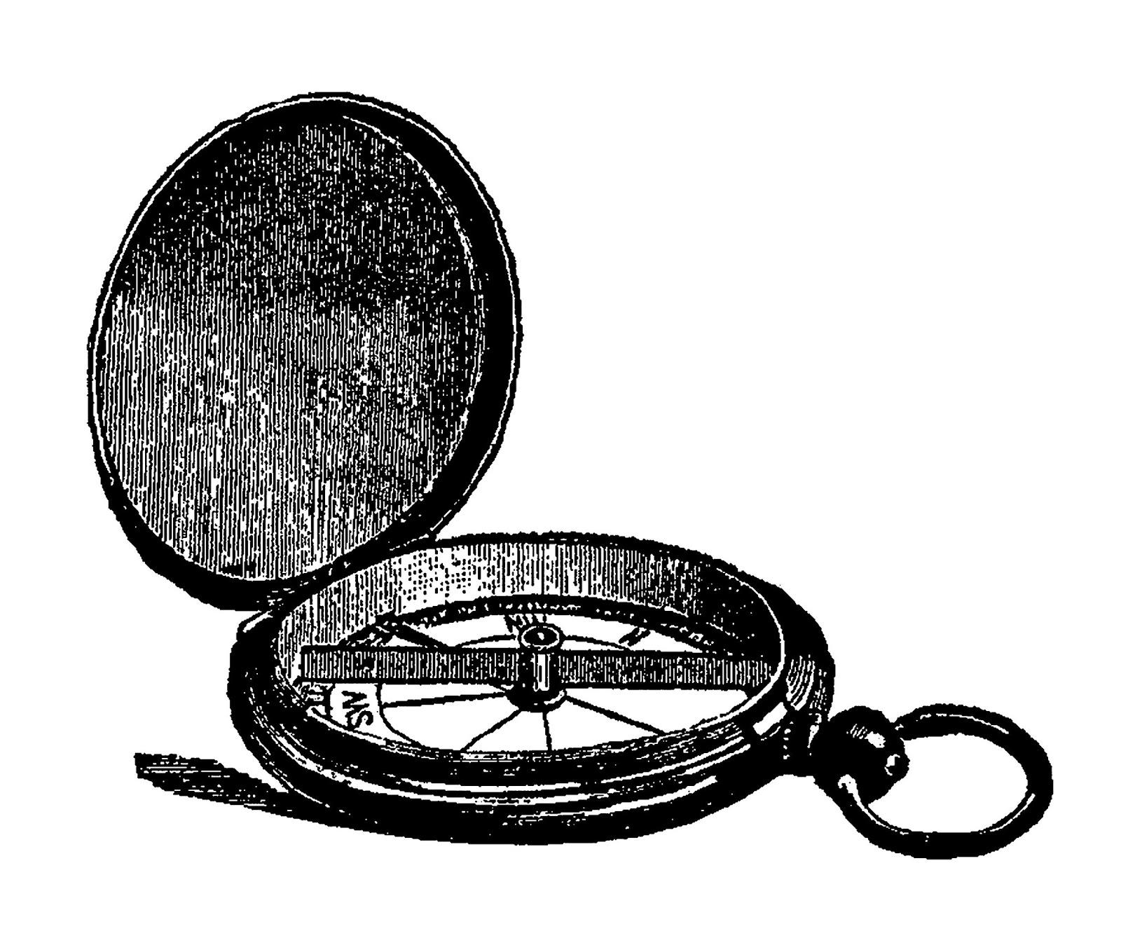 Digital Clip Art Vintage Pocket Compass Graphic