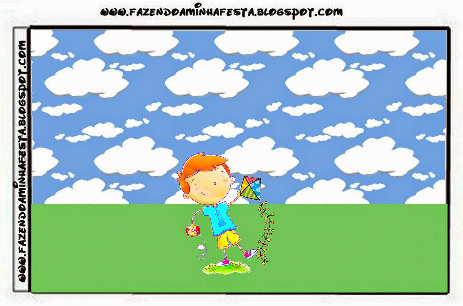 Boy with a Kite Free Printable Candy Bar Labels.