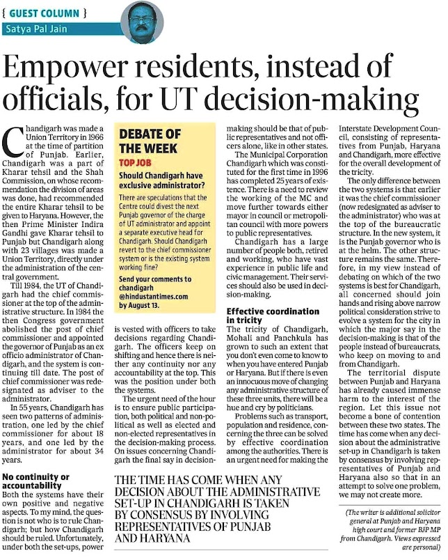 [GUEST COLUMN] 'Empower residents, instead of officials, for UT decision-making' - Article by Satya Pal Jain
