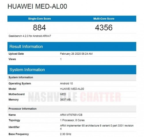 In addition, the webpage also shows that this new machine will be equipped with Android 10.0 system, 4GB of memory, and MT6765 processor.  The MT6765 processor is relatively rare in China. In fact, it is the MediaTek Helio P35 processor . This processor uses TSMC's 12nm process, an 8-core A53 architecture, and a maximum frequency of 2.3GHz. In terms of parameters, the MediaTek P35 processor is roughly the same as Snapdragon 625 is equivalent.  Coincidentally, among the Huawei models currently on sale, there is also a product equipped with MT6765 processor-Huawei Enjoy 9e. In other words, this new machine may be a new machine of Huawei Enjoy series.