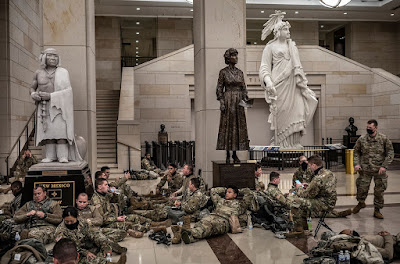 photograph of National Guard resting in US Capitol on January 13, 2021