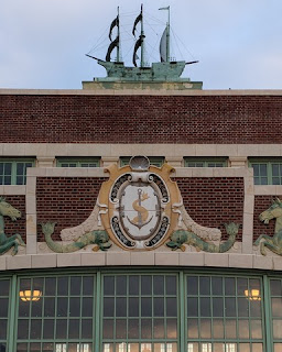 Nautical motif and ship atop the south entrance to the arcade, Asbury Park, New Jersey