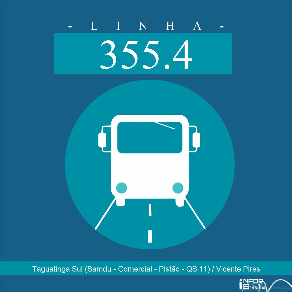 Horário de ônibus e itinerário 355.4 - Taguatinga Sul (Samdu - Comercial - Pistão - QS 11) / Vicente Pires