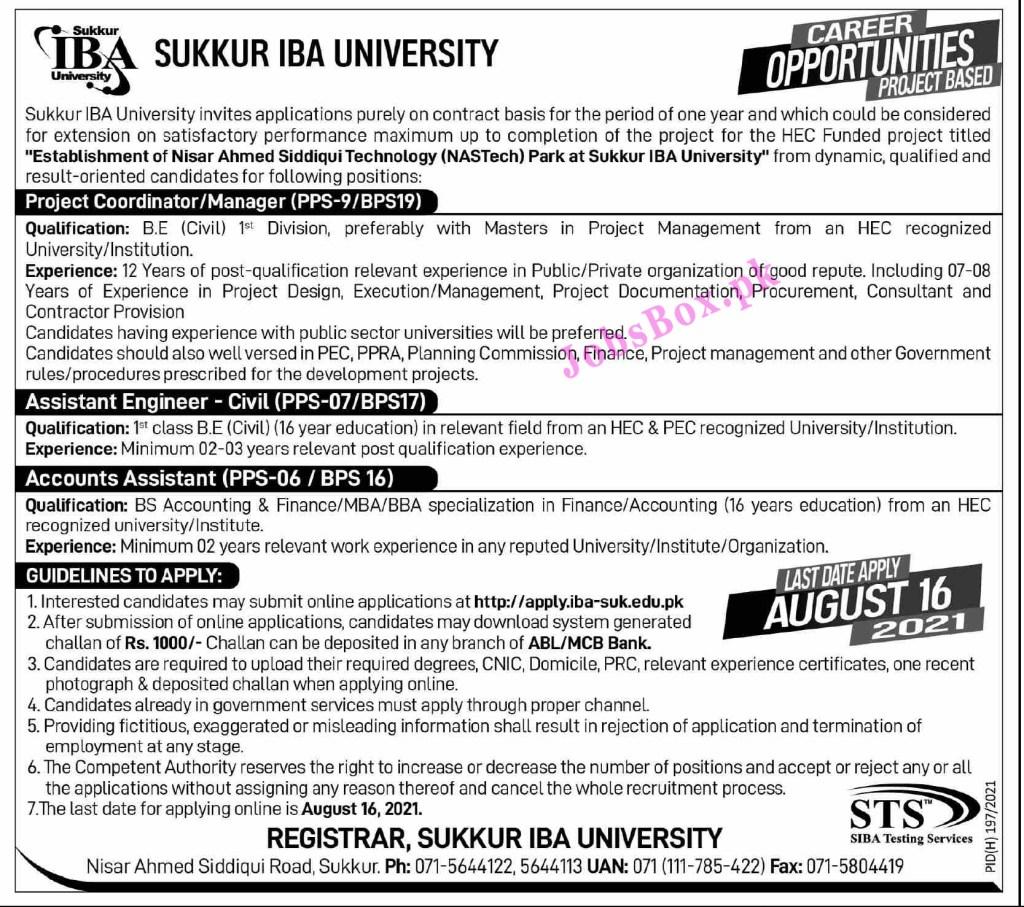 apply.iba-suk.edu.pk - Sukkur IBA University Jobs 2021 in Pakistan