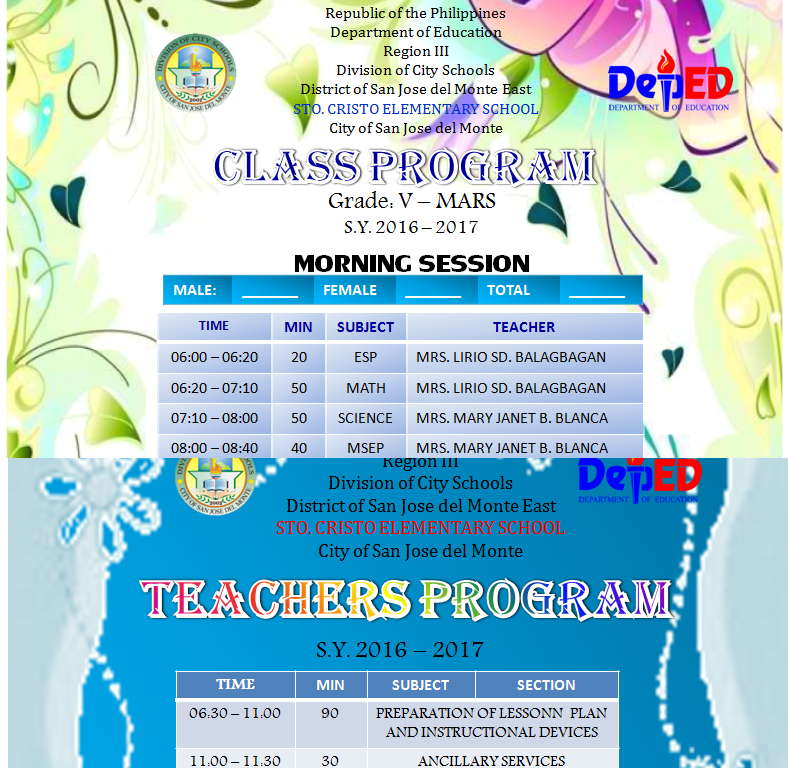 CLASS PROGRAM & TEACHERS PROGRAM TEMPLATE - DepEd LP's
