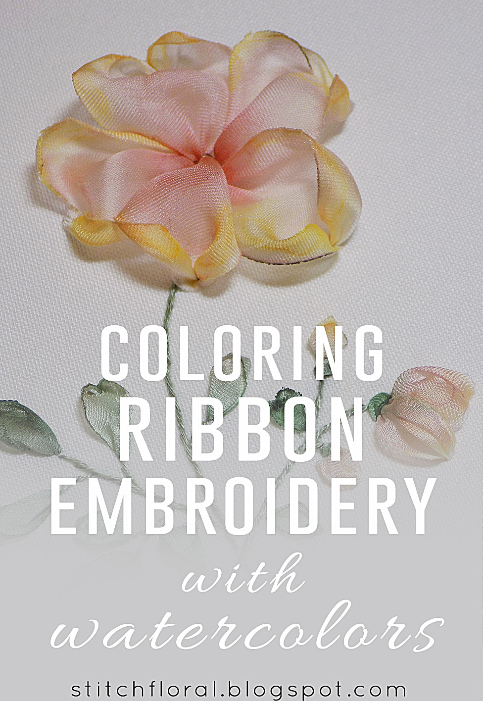 Coloring Ribbon Embroidery With Watercolors Tutorial Stitch Floral