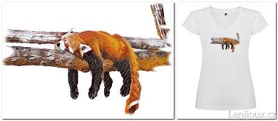 Panda červená - dámské tričko s potiskem v geometrickém stylu