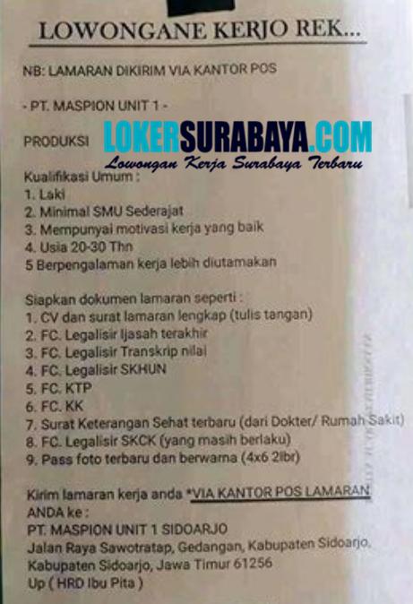 Loker Surabaya Di Pt Maspion Unit 1 Sidoarjo Agustus 2020 Lowongan Kerja Surabaya Januari 2021 Lowongan Kerja Jawa Timur Terbaru