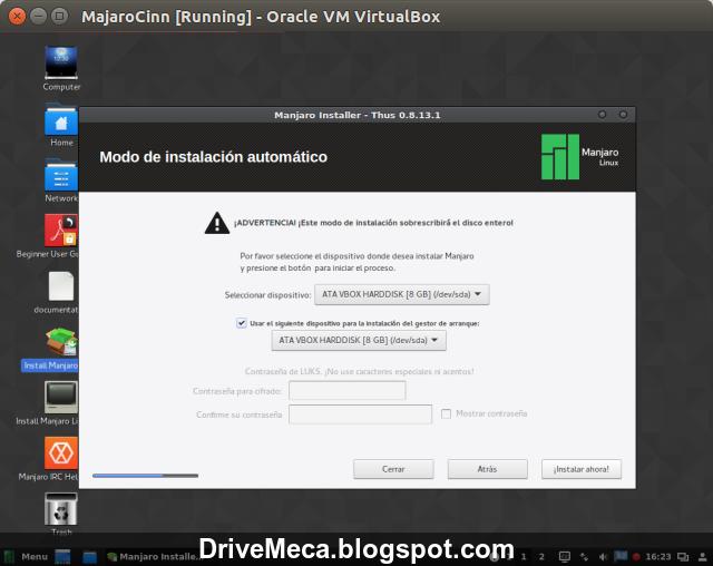DriveMeca instalando Linux Manjaro Cinnamon paso a paso